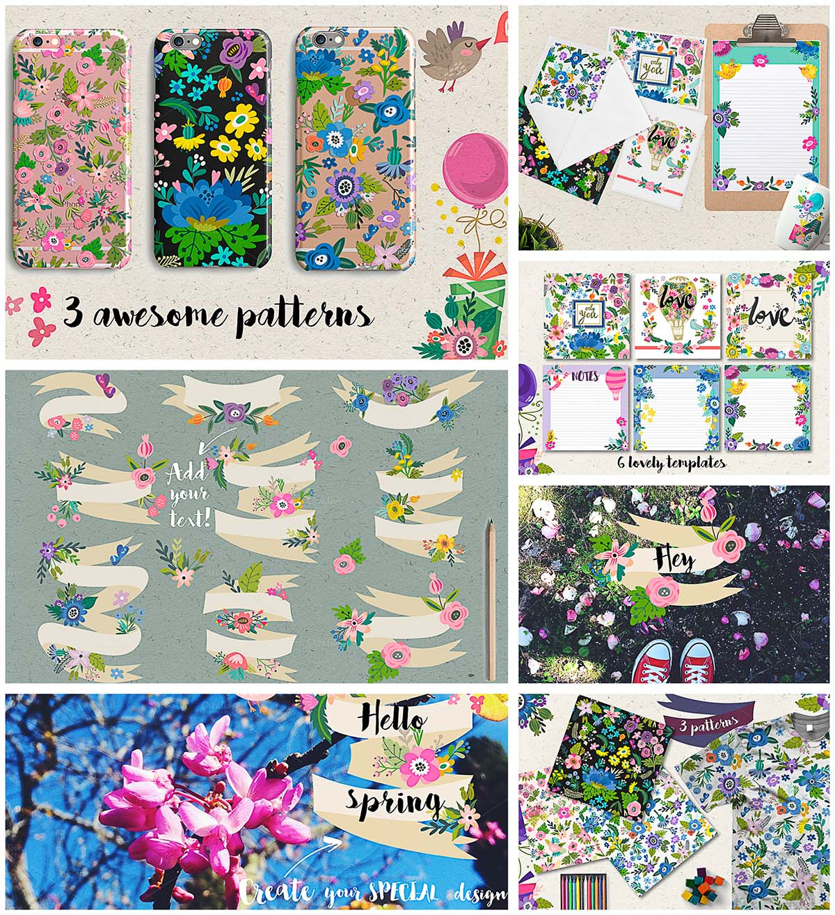 Colorful spring patterns and illustrations set