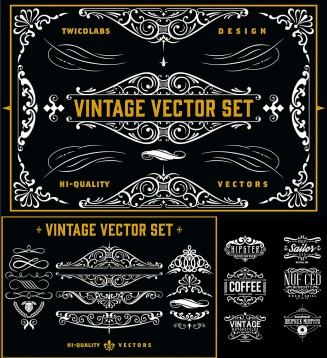 Vintage vector ornamental label design
