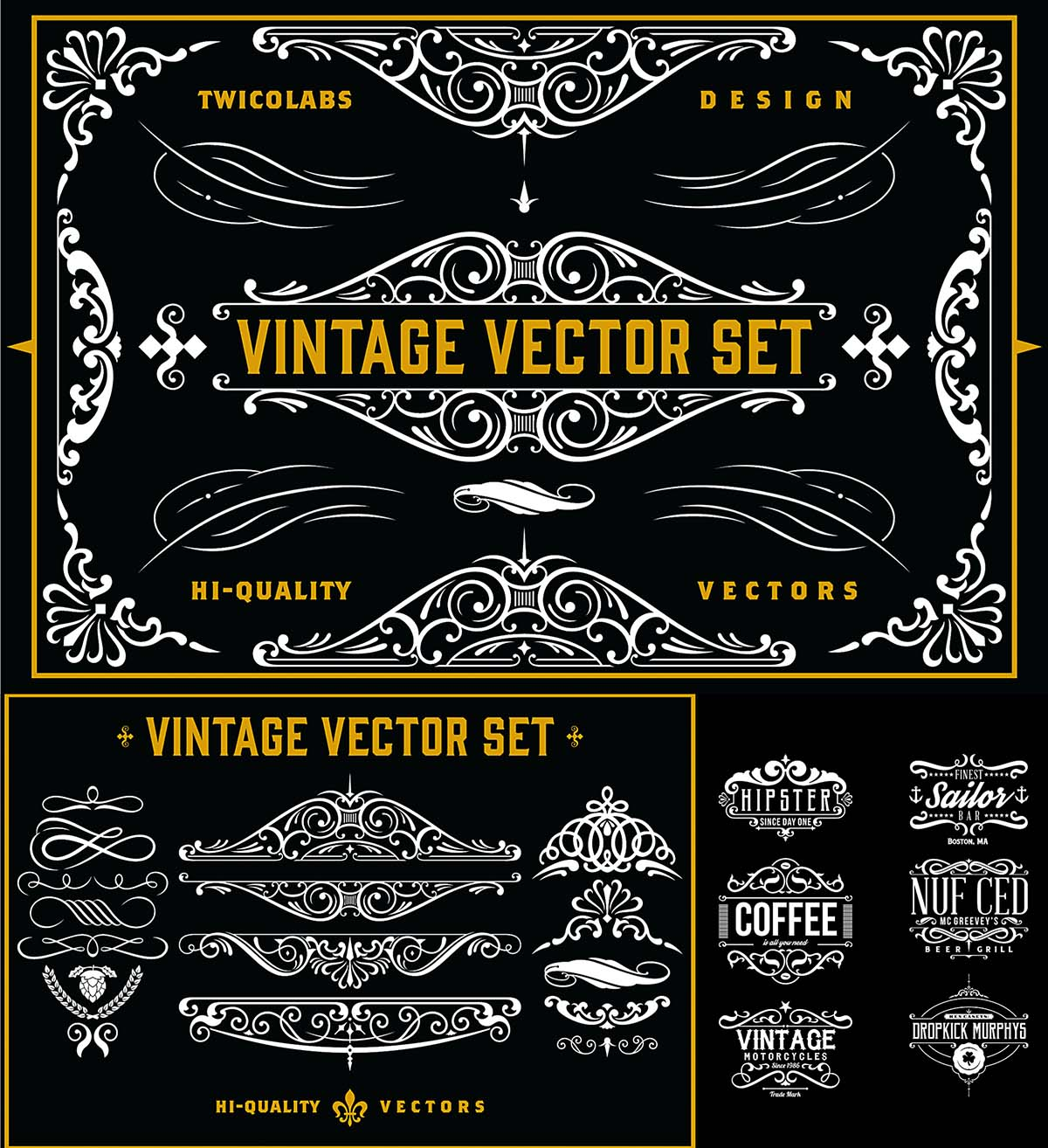 Vintage vector ornamental label design
