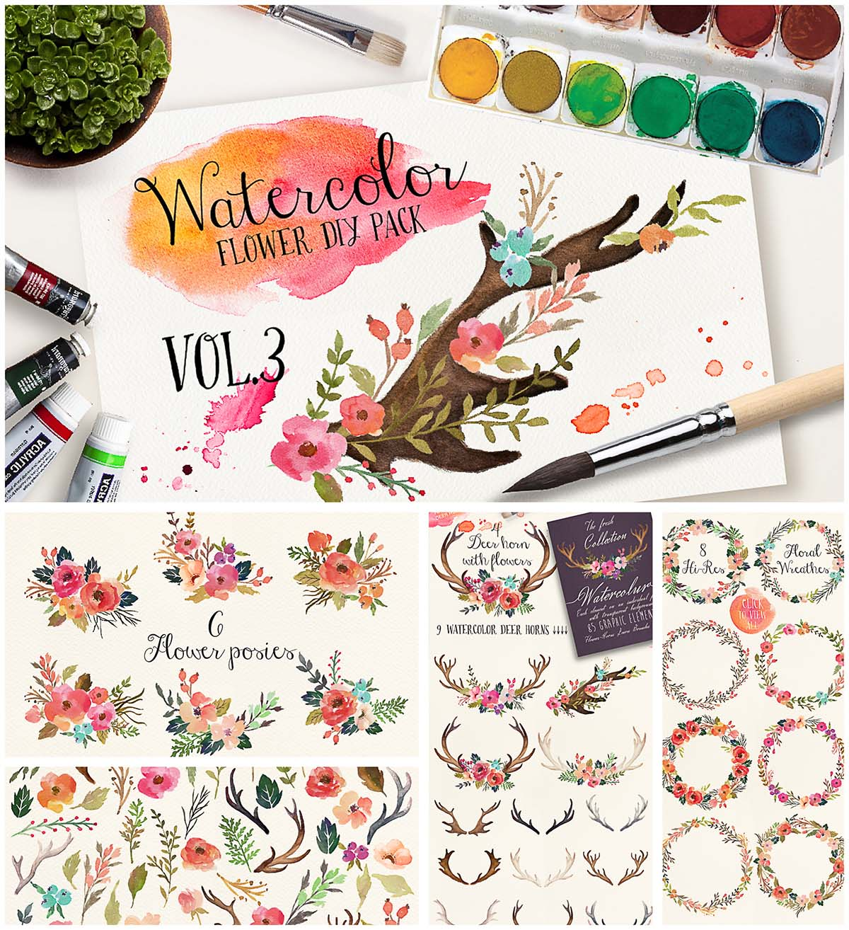 Watercolor DIY flowers and horns illustration