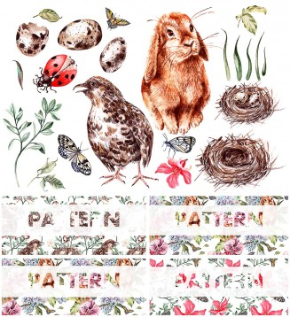 Hand drawn watercolor spring patterns and elements