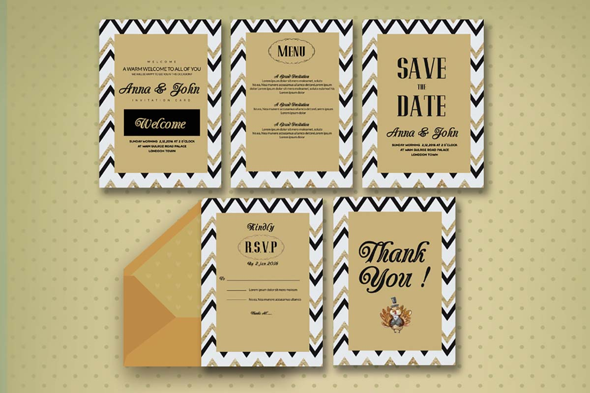 5 Wedding invitation cards with ornament