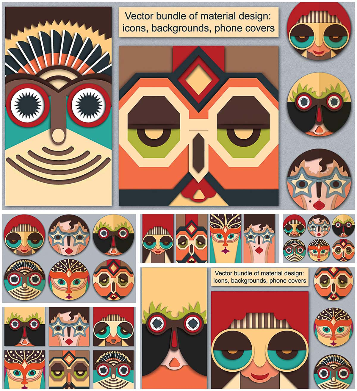 Characters in mask retro vector set