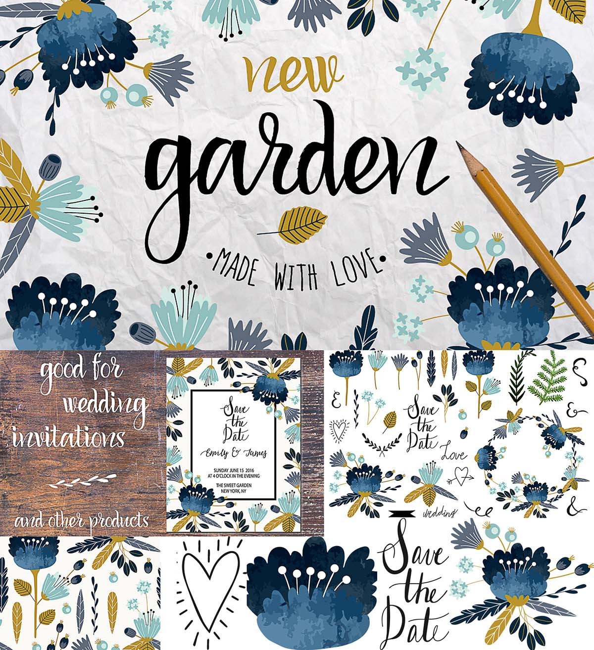 Garden with flowers illustrations and patterns