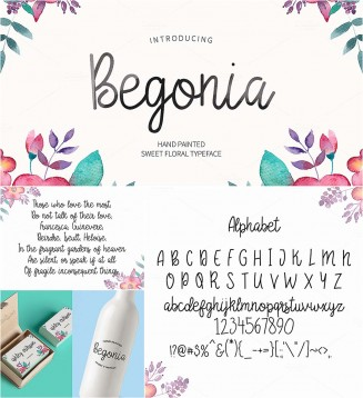 Begonia hand made font
