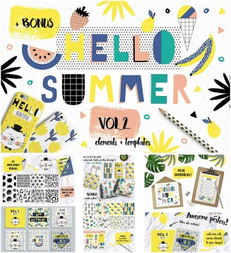 Summer elements patterns and stickers set