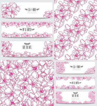 Pink blossom pattern and invitations set
