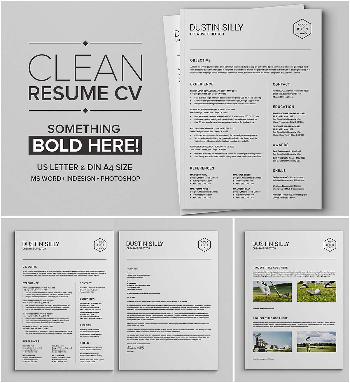 Simple editable cv template set