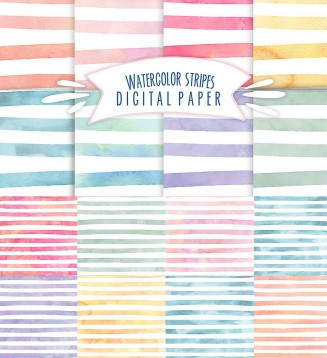 Watercolor stripes pattern set