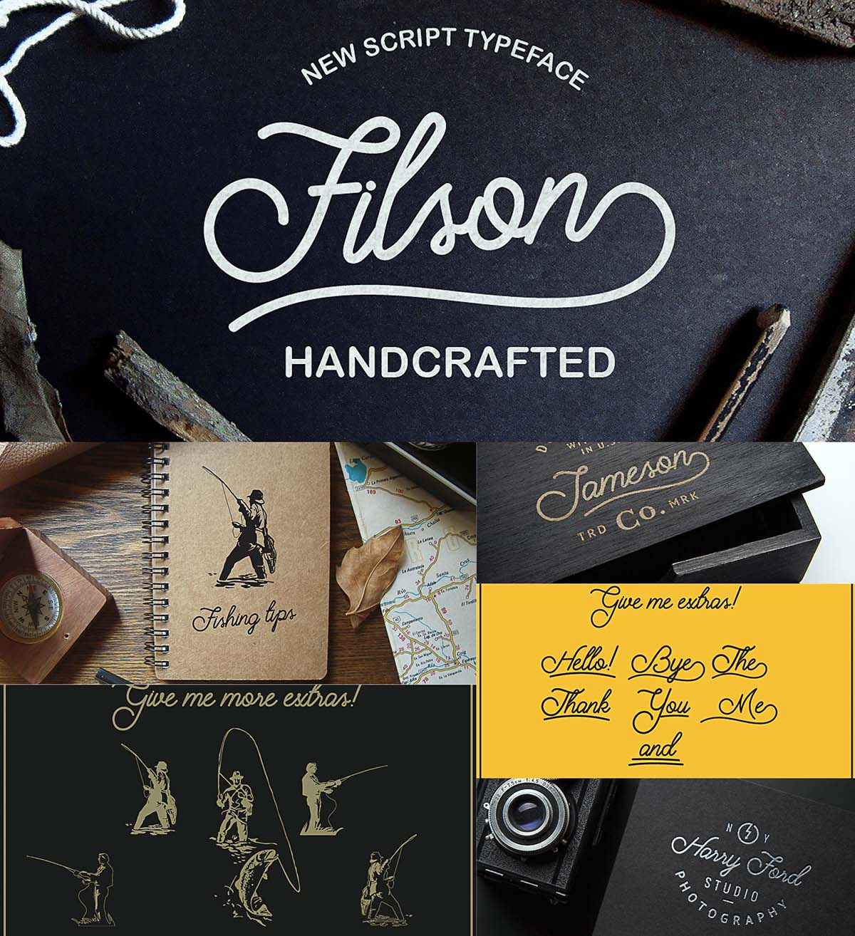 Filson hand drawn typeface with extras