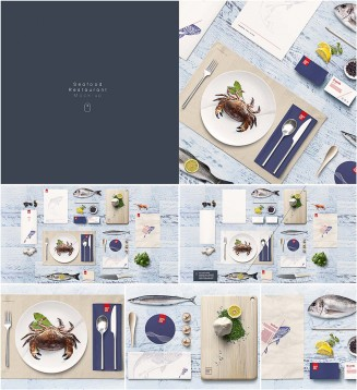 Seafood restaurant mockup set with fish