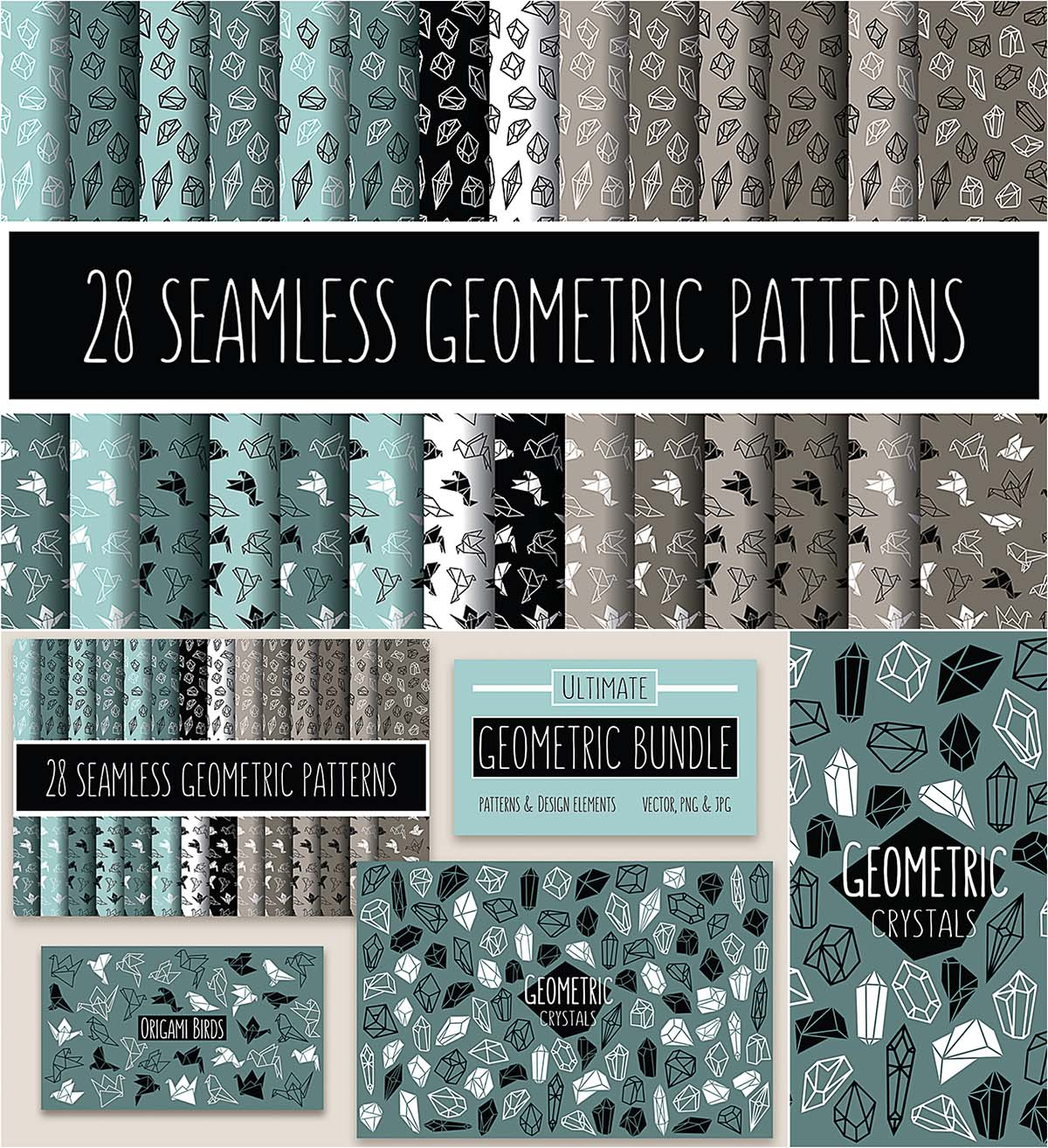 Geometric pattern and elements vector set