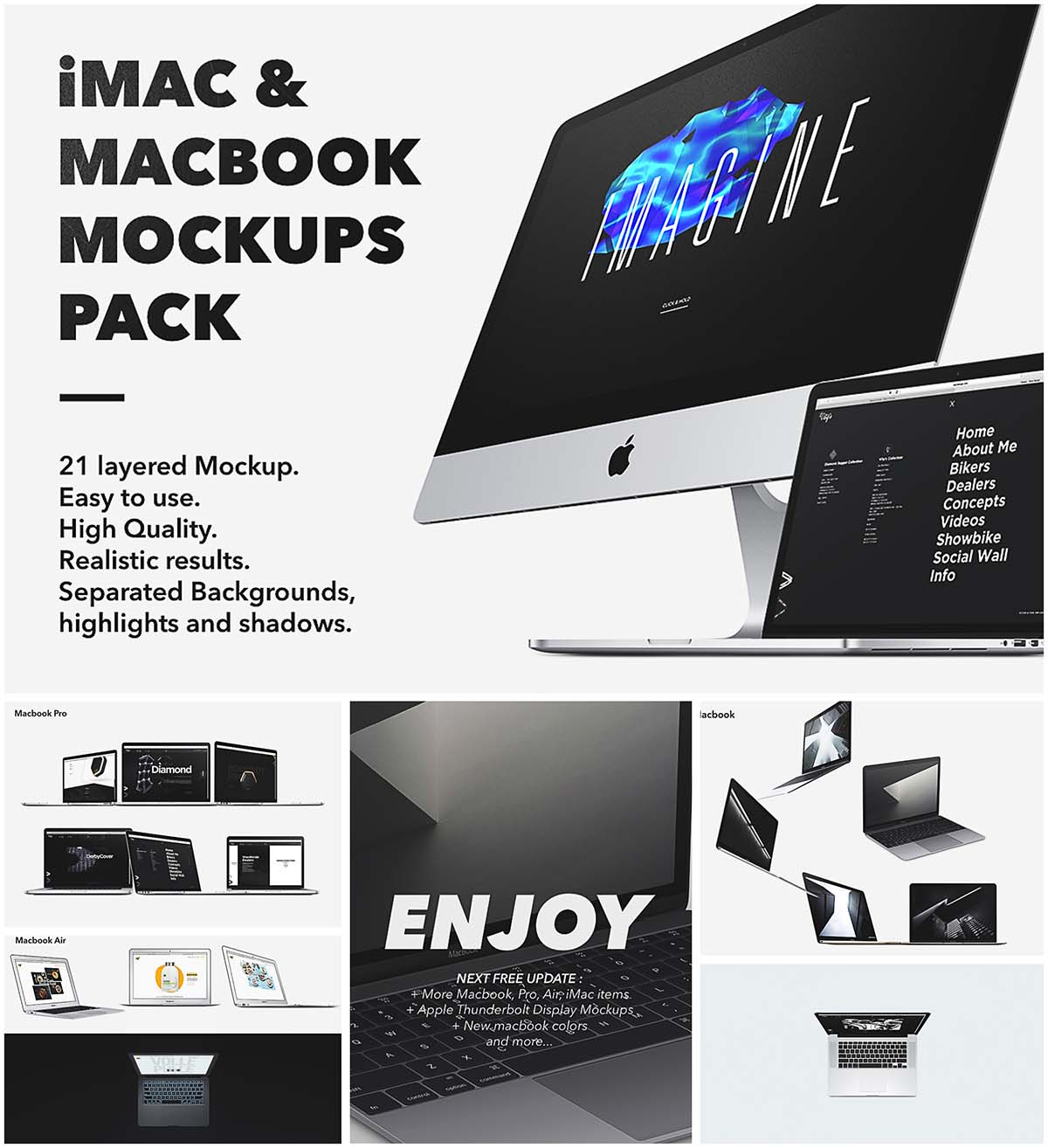 Macbook mockup scene collection