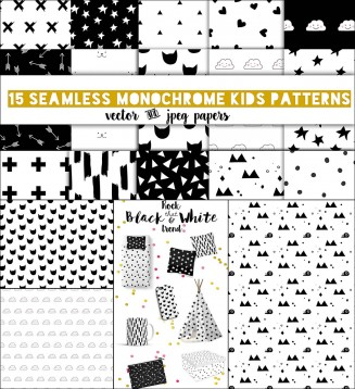 16 monochrome kids pattern