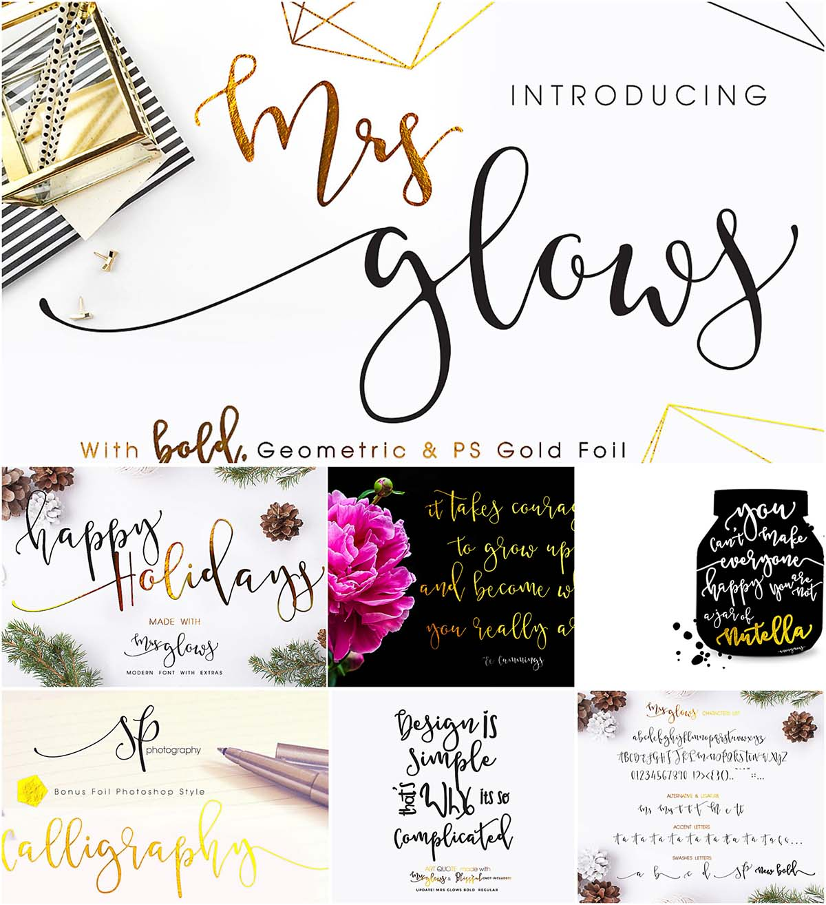 Mrs glows calligraphy font with extra