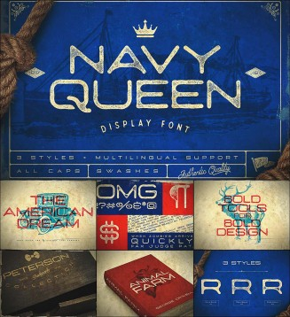 Retro navy queen font