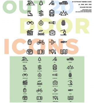 Outdoor elements icon vector set