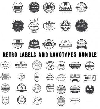 Vintage labels and logotypes bundle