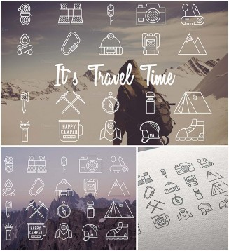 Flat travel icons set