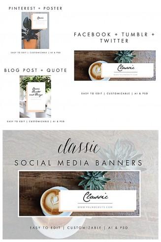 Social media banner template set