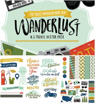 wanderlust U.S. travel vectors and patterns