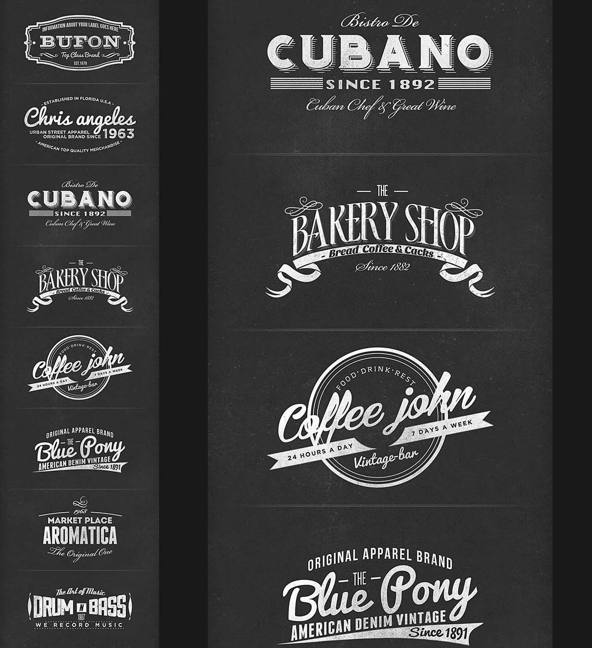 Retro branding labels colllection