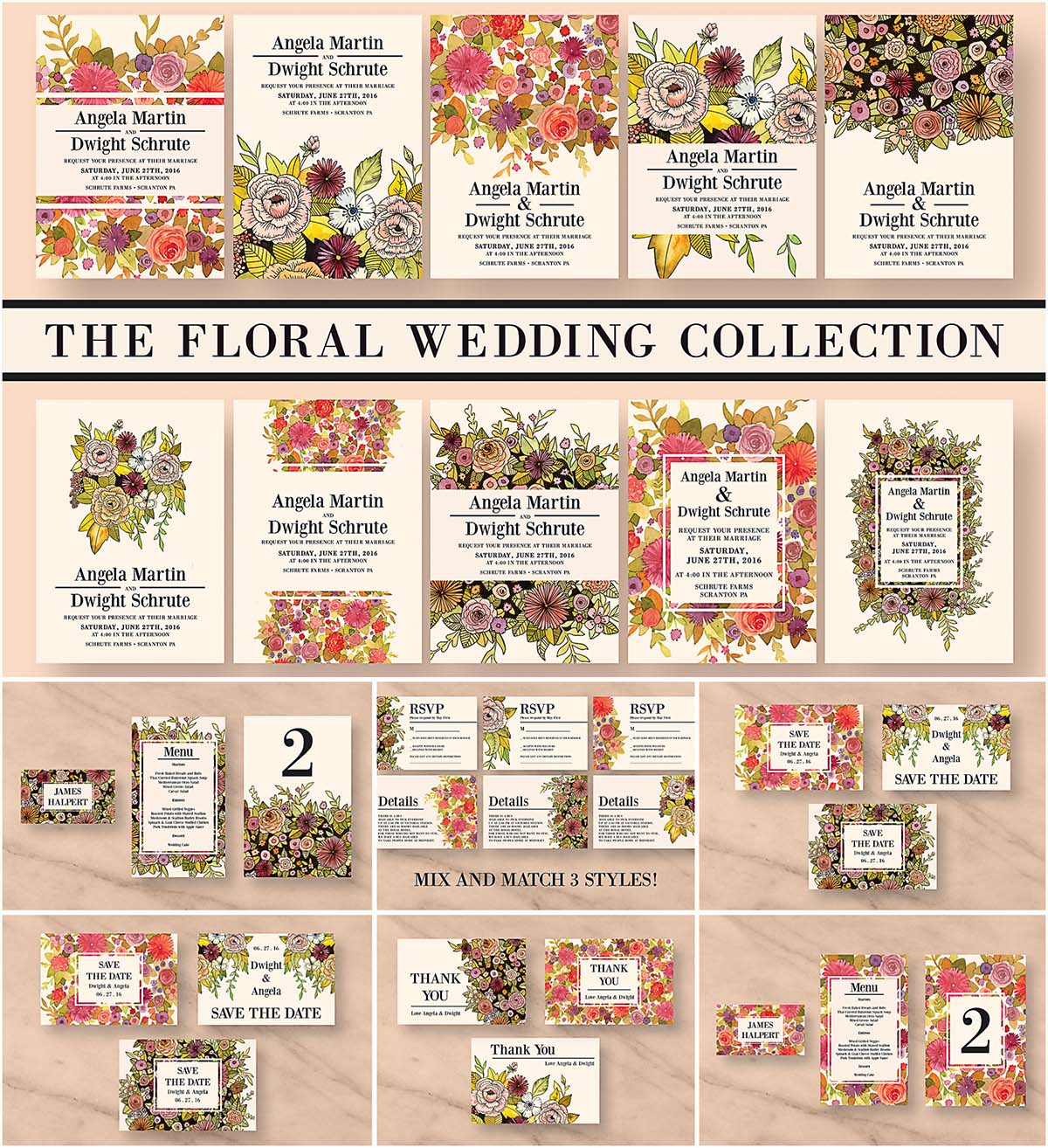 Vintage floral wedding invitation bundle | Free download
