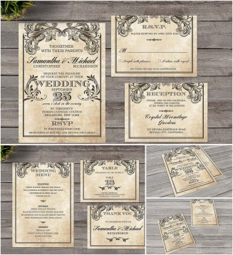 Vintage vectorian wedding invitation set