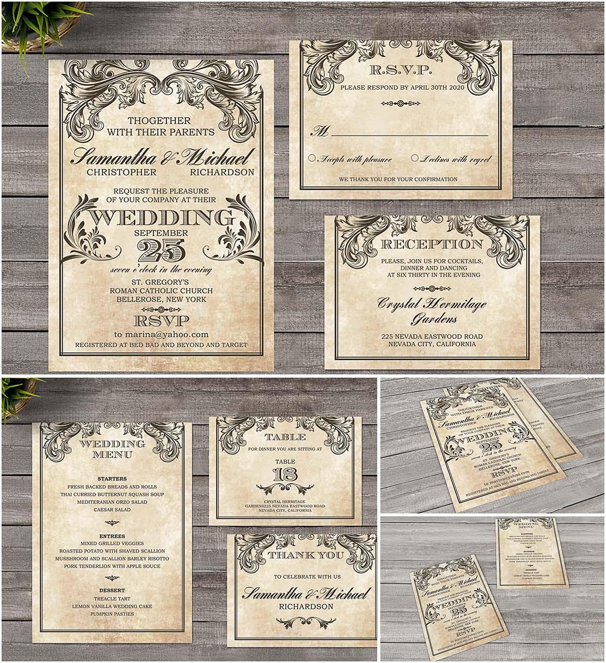 Vintage vectorian wedding invitation set