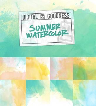 Watercolor backgrounds summer set