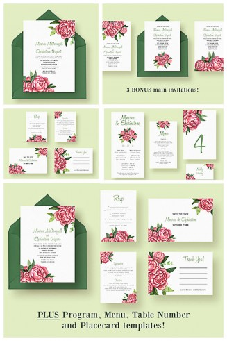 Elegant wedding cards with roses set