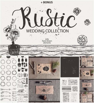 Wedding rustic invitation elements collection
