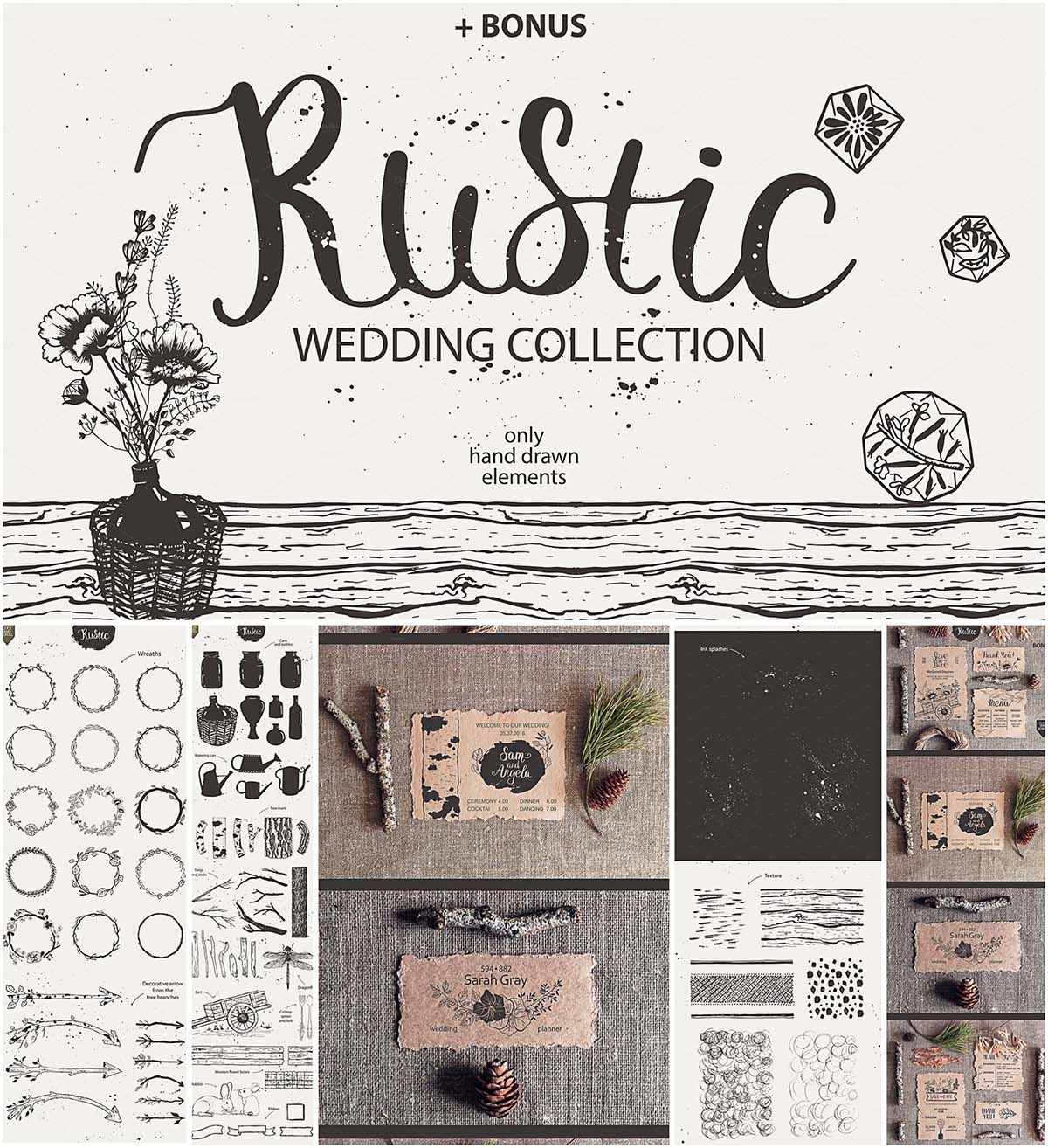 Wedding rustic elements collection | Free download
