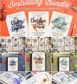 Watercolor wedding cards bundle