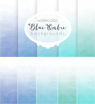 Blue omre watercolor set