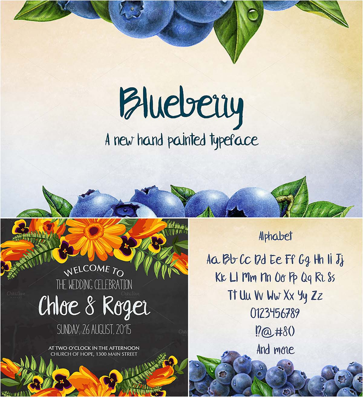 Blueberry hand drawn font