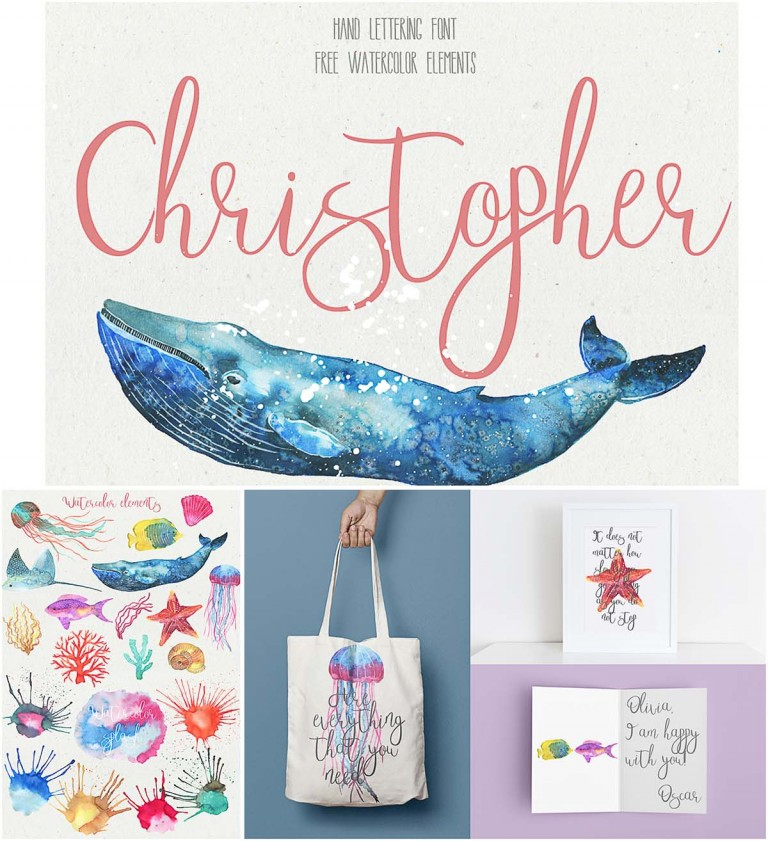 Christopher watercolor font and elements