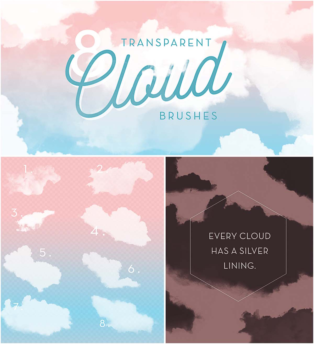 Transparent clouds brushes set