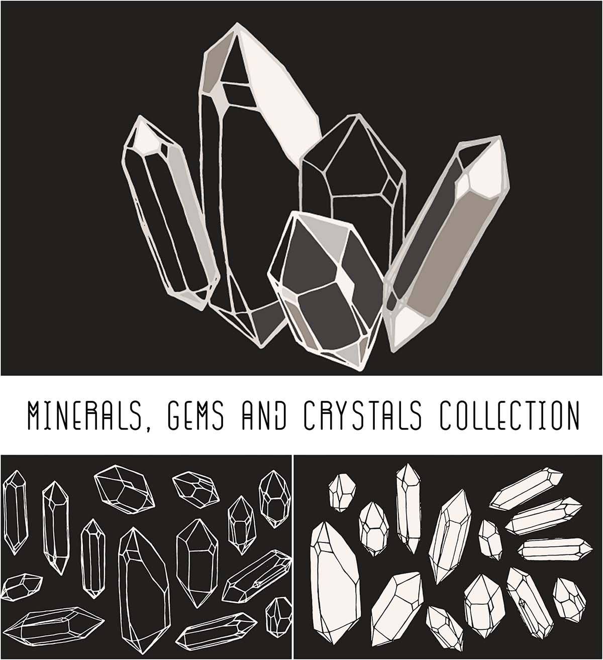 Minerals and crystals illustration set