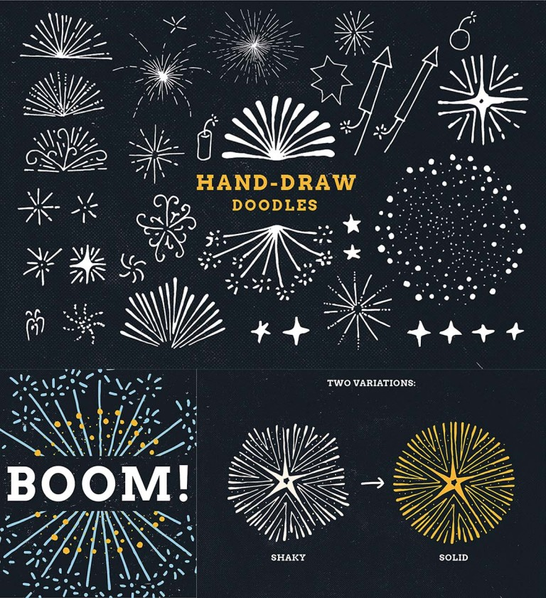 Firework doodles and illustrations sketches vector set