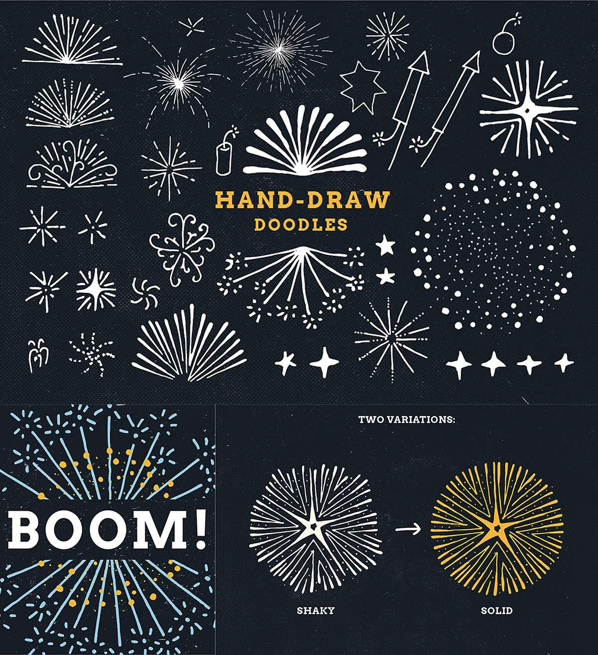 Firework doodles and illustrations sketches vector set