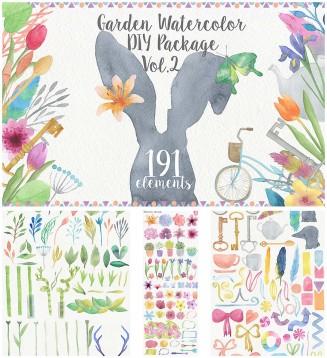 Watercolor garden illustration set