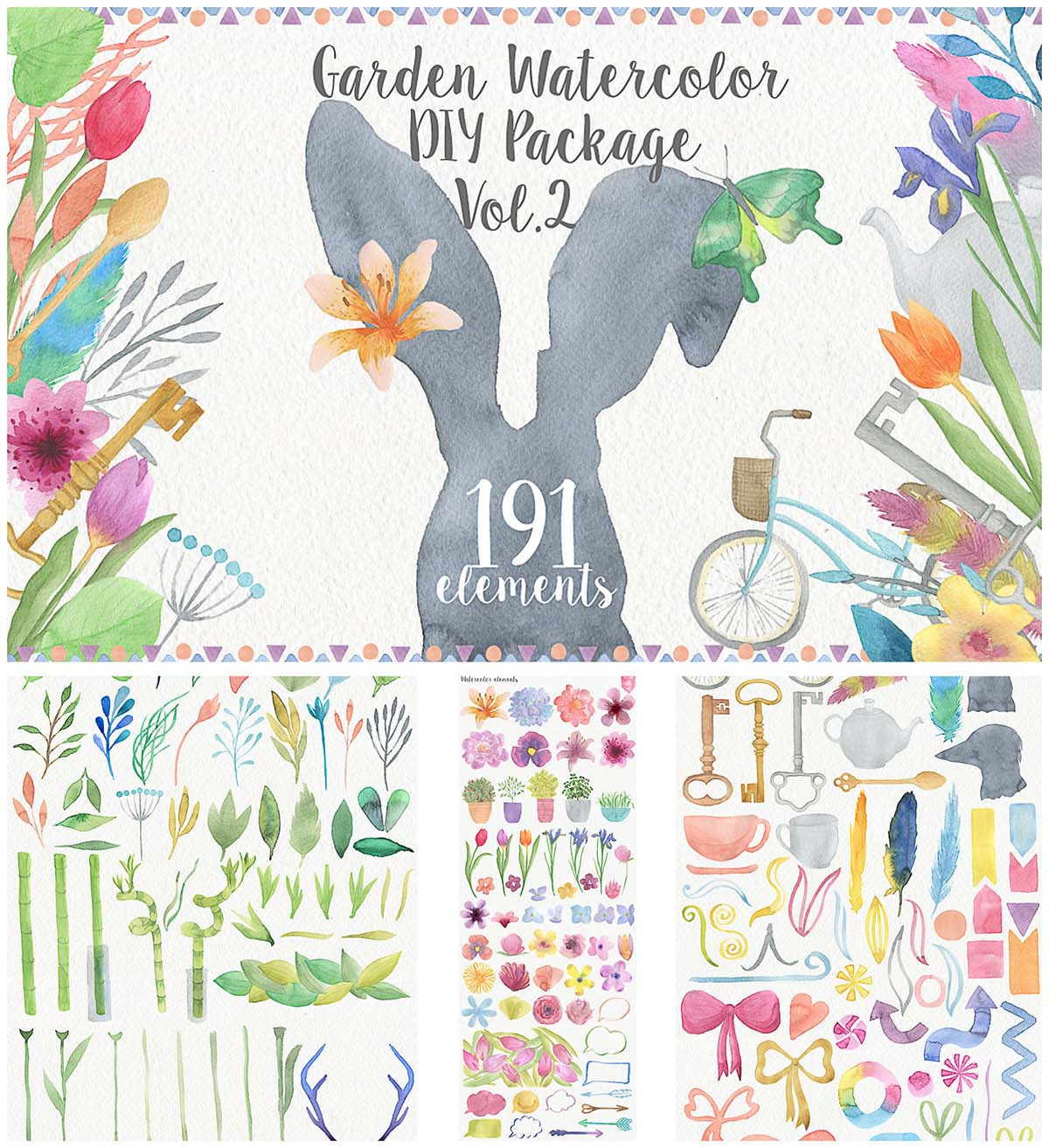 Watercolor garden illustration set