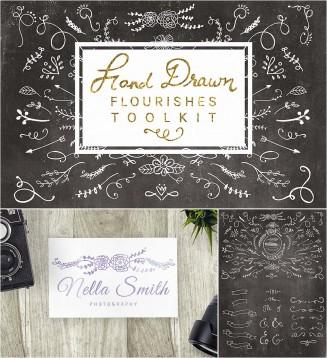 Retro hand drawn flourishes toolkit