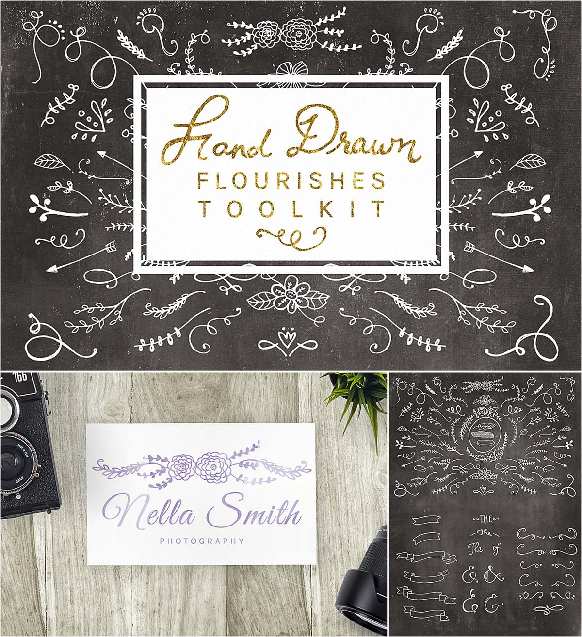 Retro hand drawn flourishes toolkit