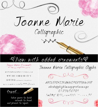 Joanne Marie calligraphic font with ornaments