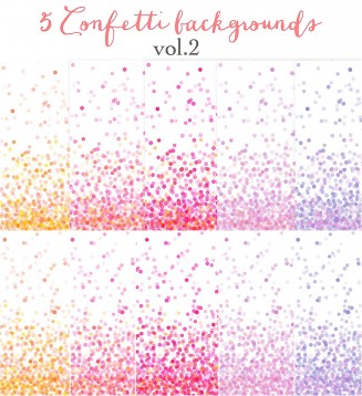 Bright pink confetti backgrounds set