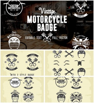 Motorcycle retro badges collection