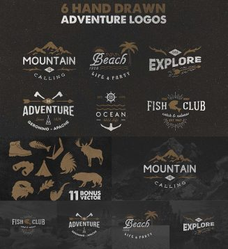 Vintage adventure logotypes set