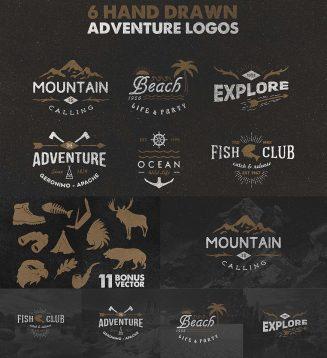 Vintage adventure logotypes set